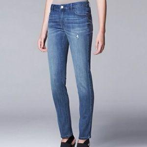 Vera Wang Distressed Skinny Midrise Jeans, Sz 10